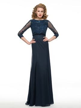 Sequined Lace 3/4 Sleeves Chiffon Long Mother of the Bride Dress