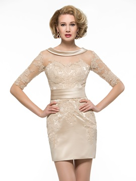 Lace Appliques Half Sleeve Sheath Short Mother of the Bride Dress