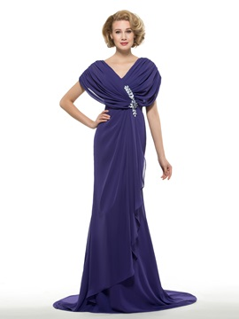 Pleated V-Neck Short Sleeve Chiffon Long Mother of the Bride Dress