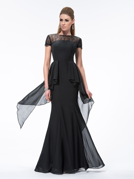 Vintage Sheath Short Sleeves Lace Bateau Neckline Long Evening Dress