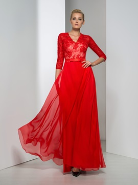 Ladylike V-Neck Sequined A-Line Half Sleeves Red Evening Dress