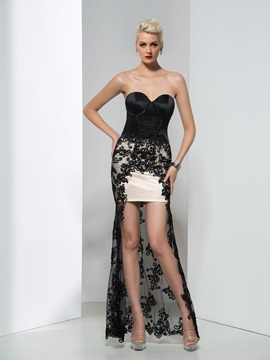 Modern Sweetheart Sheath Appliques Asymmetrical Evening Dress