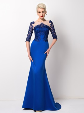 Mermaid Tulle Neck Lace Sweep Train Long Evening Dress Designed