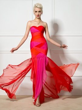 Color Block Sweetheart Pleats Trumpet Long Evening Dress
