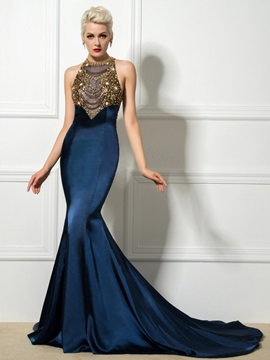 Luxurious Jewel Neck Beaded Crystal Hollow Chapel Train Mermaid Evening Dress