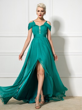 Stunning A-Line Straps Pleats Split-Front Beaded Sweep Train Long Evening Dress