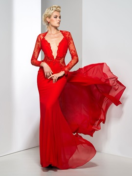 Sexy Backless Deep V-Neck Appliques Lace Long Sleeves Long Evening Dress
