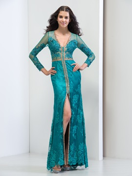 Graceful V-Neck Long Sleeve Sheath Split-Front Long Lace Evening Dress