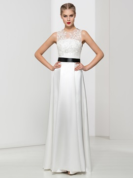 Jewel Neck Appliques Sequins Long Evening Dress