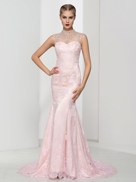 High Neck Beading Button Mermaid Lace Evening Dress