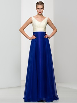 Simple V-Neck Pleats A-Line Long Prom Dress