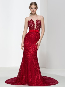 Super Straps Bowknot Pearls Mermaid Lace Evening Dress