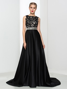 A-Line Appliques Beading Backless Evening Dress