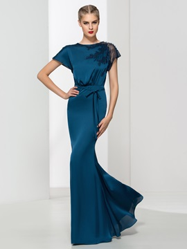 Timeless Cap Sleeves Sashes Lace Sheath Evening Dress