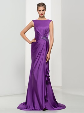 Elegant Bateau Neck Appliques Pleats Trumpet Evening Dress
