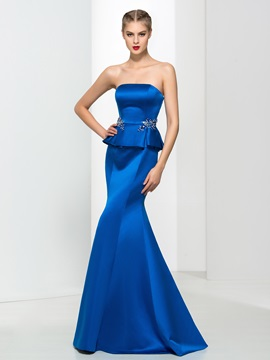 Graceful Strapless Ruffles Beading Mermaid Evening Dress