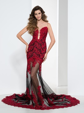 Sexy Sheer Neck Lace Appliques Trumpet Evening Dress