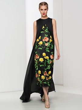 Modern Jewel Neck Column Asymmetrical Print Evening Dress