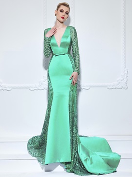 V-Neck Long Sleeves Bowknot Lace Mermaid Evening Dress