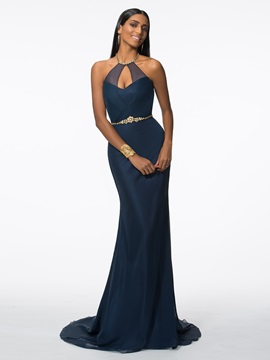 Sexy Halter Beading Hollow Mermaid Evening Dress