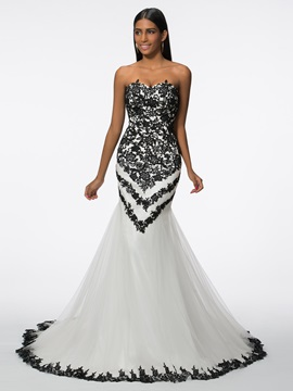 Classy Sweetheart Appliques Mermaid Evening Dress