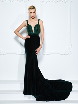 Fashionable Straps Sequins Crystal Mermaid Evening Dress