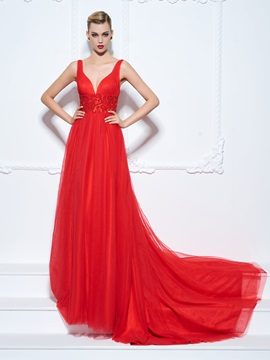 Empire Waist Straps Beading Long Red Evening Dress