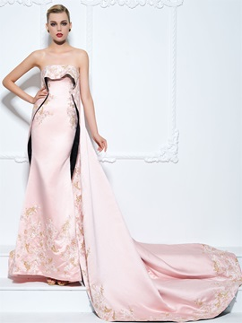 Luxurious Straps Embroidery Appliques Trumpet Evening Dress