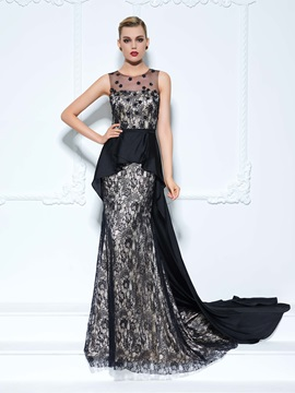 Sheer Neck Flowers Black Lace Evening Dress