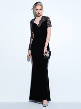 Vintage Sleeves Sheath Black Evening Dress