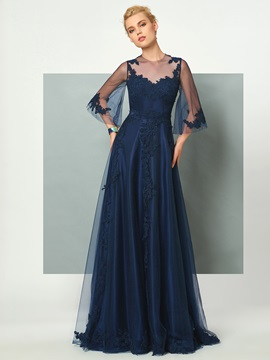 Fancy Jewel A-Line 3/4 Length Sleeves Appliques Floor-Length Evening Dress