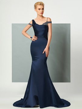 Timeless Straps Trumpet Beading Court Train Evening Dress