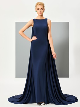Stylish Bateau Mermaid Appliques Watteau Train Evening Dress