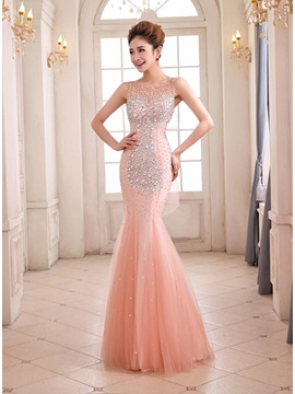 Gorgeous Mermaid Scoop Beading Floor-Length Evening Dress