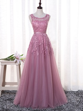 Exquisite A-Line Scoop Appliques Pearls Sashes Floor-Length Evening Dress
