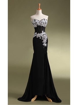 Concise Sheath Sweetheart Appliques Beading Sequins Sweep Train Evening Dress