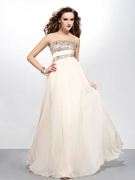 Elegant A-Line Floor-length Strapless Sleeveless Sequins Beading Prom Dress Designed