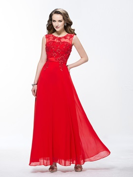 A-Line Scoop Neckline Appliques Sequins Long Evening Dress