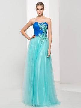 Tulle Sweetheart Sequins Appliques Lace-Up Prom Dress