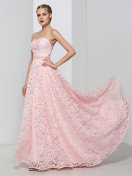 Dramatic Sweetheart Beading Lace Pink Prom Dress