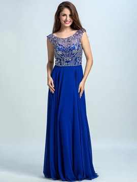 Scoop Neck Beading A-Line Chiffon Prom Dress