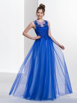 Sheer Neck Appliques Tulle Backless Prom Dress