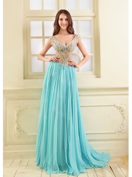 Luxurious V-Neck Cap Sleeve Crystal Sequins Long Prom Dress