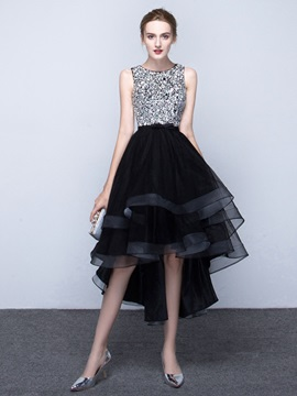 Lovely Scoop A-Line Beading Asymmetry Prom Dress