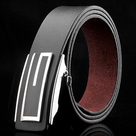 Business Leather Automatic Buckle Belt for Men