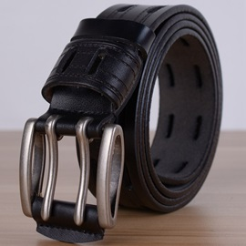 Double Hole Pin Buckle Men's Leather Belt