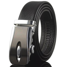 Automatic Buckle Decorated Men's Belt