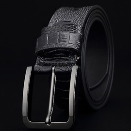 Embossed Leather Pin Buckle Regular Men's Belt