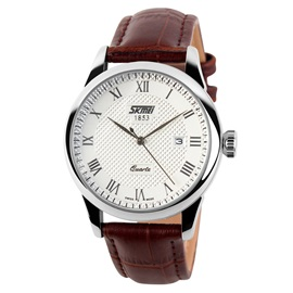 Concise Leather Band Male Quartz Watch
