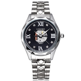 Alloy Band Round Diamond Man Watch